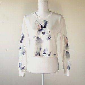 Shein Rabbit Print Cropped Sweatshirt Size Large